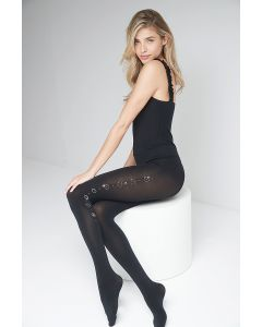 Ttights adorned with Swarovski quality crystals