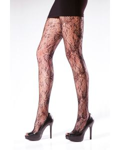 Floral Lace Fishnet Tights with Gusset