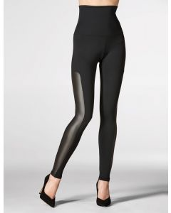 High waisted leggings faux leather insertion