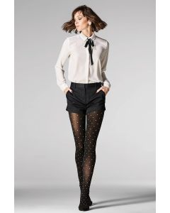Opaque tights with white polka dots