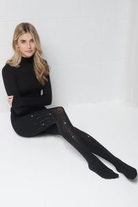 Tights adorned with Swarovski quality crystals