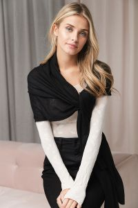 Cashmere & silk knit scarf