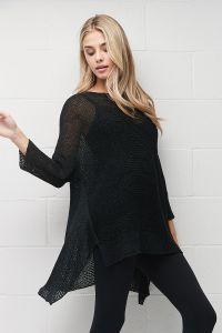 Ribbon knit asymetrical shirt