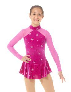 Mock neck glitter figure skating dress