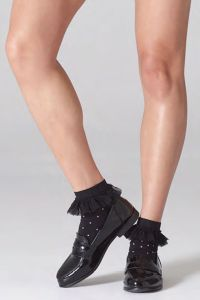 Microfiber ankle high with white dot