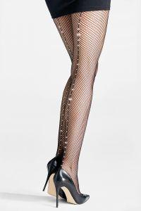 Fishnet tights with Rhinestones on back seam